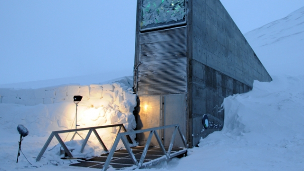 The front entrance of the Global 'Doomsday' Seed Vault in Svalbard,Norway